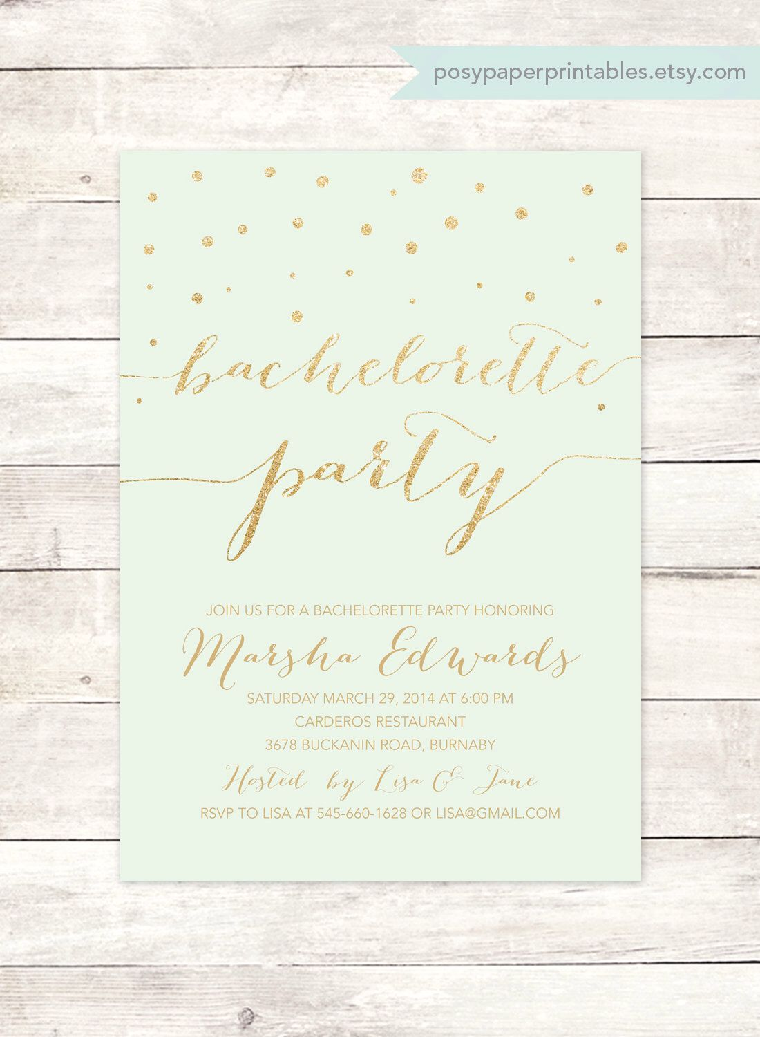 mint gold bachelorette party invitation printable mint green gold ...