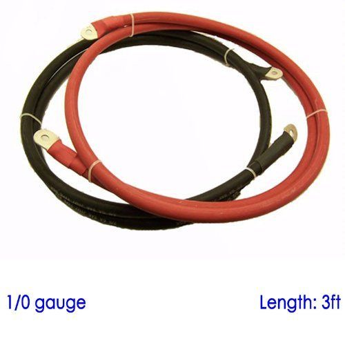 Battery Cable With 3 8 And 5 16 Lugs For Power Inverter Converter Solar 12 Volt Bank 3ft 1 0 Awg Sgx