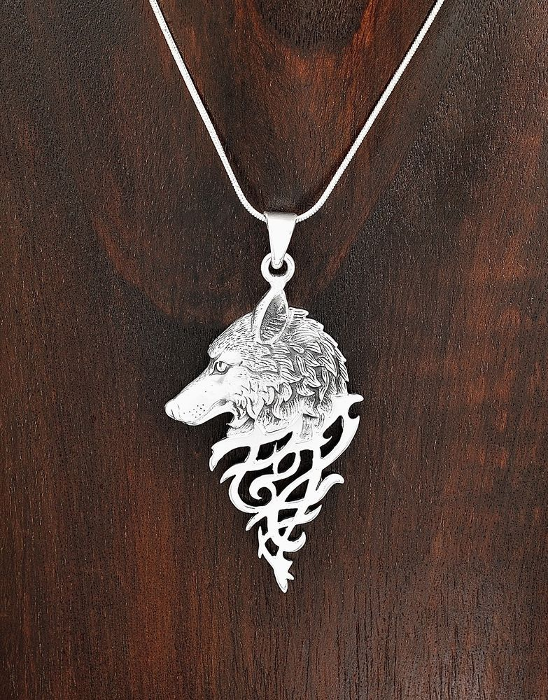 Sterling Silver Mystical Celtic Spirit Wolf Pendant Taxco