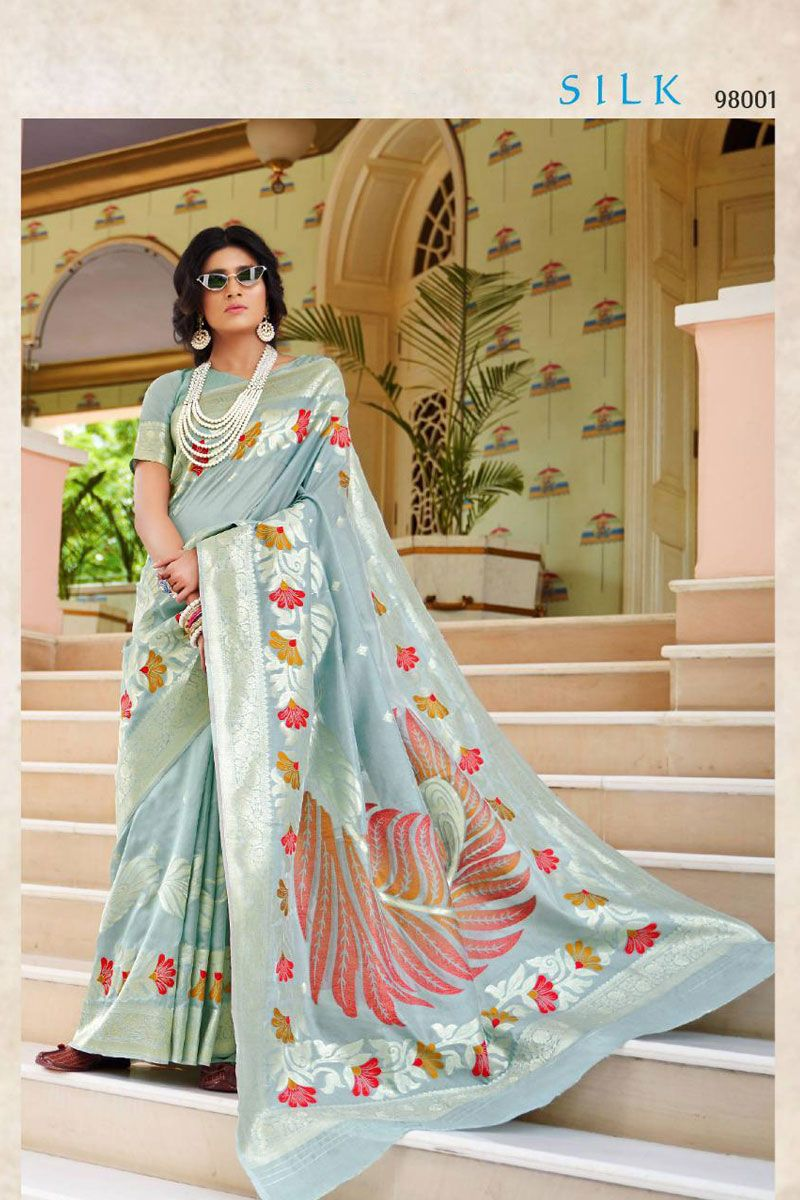 Grey Festive Wear Weaved Silk Saree Album No 1053 Saree Fabric Silk Blouse Fabric Silk Rate 2860INR Free Shipping In India For Order Please Inbox shipping