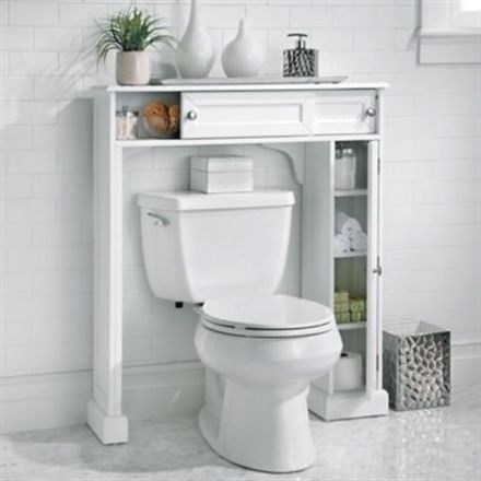 get our over-the-toilet cabinet that fits neatly around a
