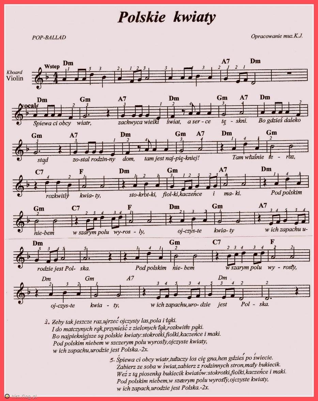 Polskie Kwiaty Fotoblog Hist Flog Pl Lyrics And Chords Sheet Music Songs
