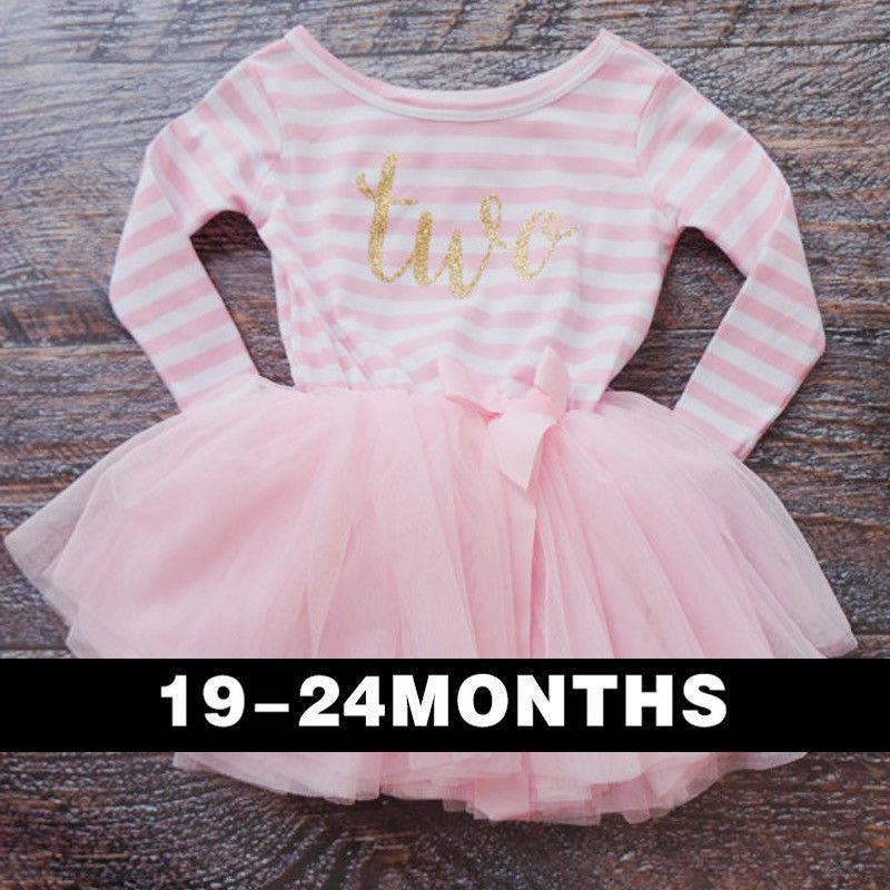 First or Second Birthday Tutu Dress in Long Sleeve for