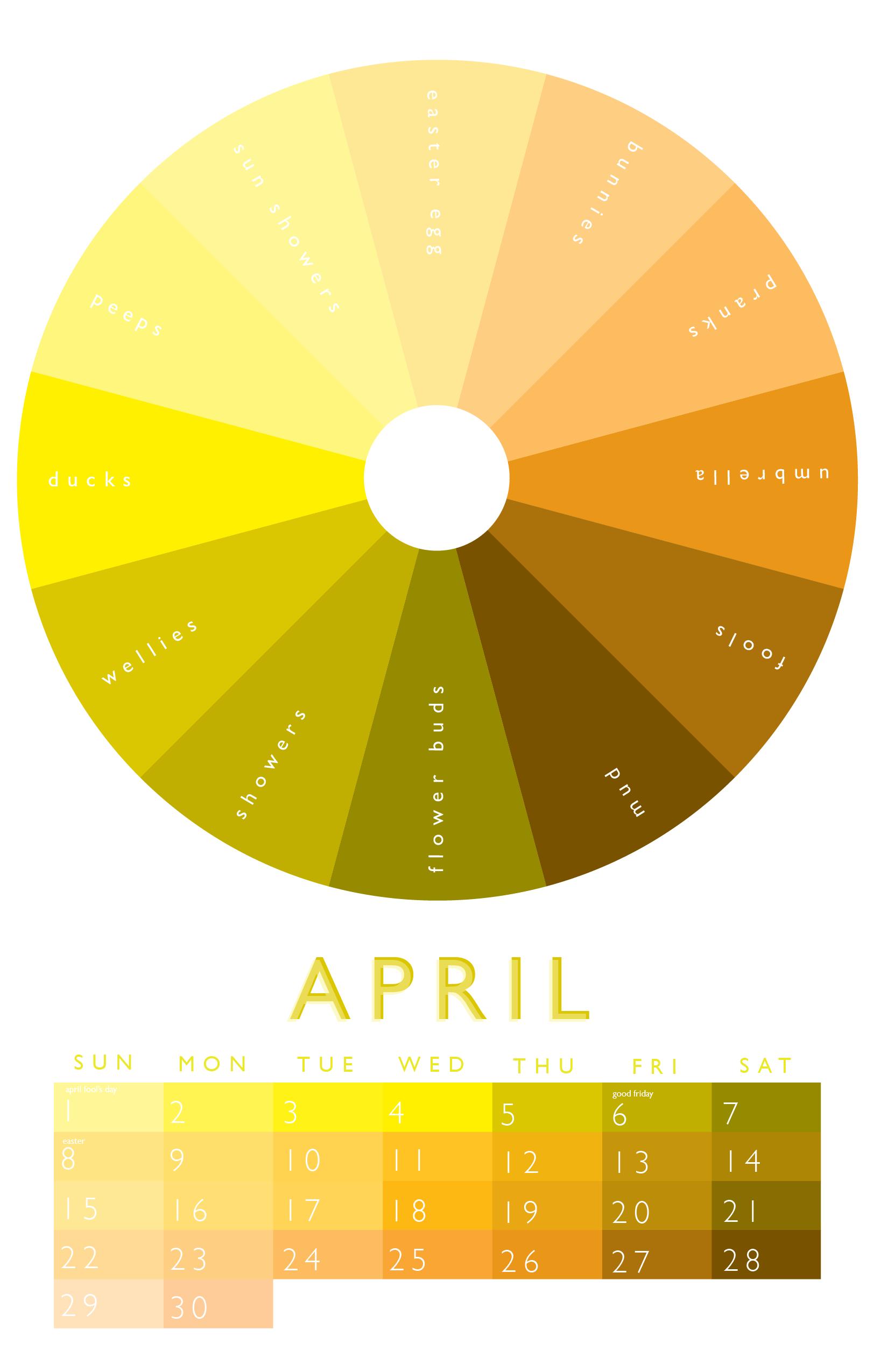 April - Graphic Designs | Month colors, Color wheel, Color