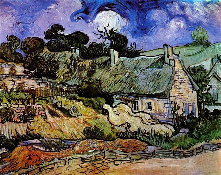 Van Gogh Drawings Fine Art Print Houses with Thatched Roofs