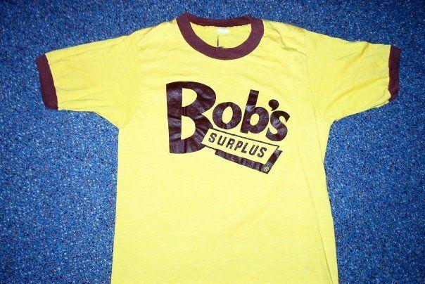 7f6935f1b4f2 Original vintage Bob s Surplus (now Bob s Stores) logo ringer t-shirt.