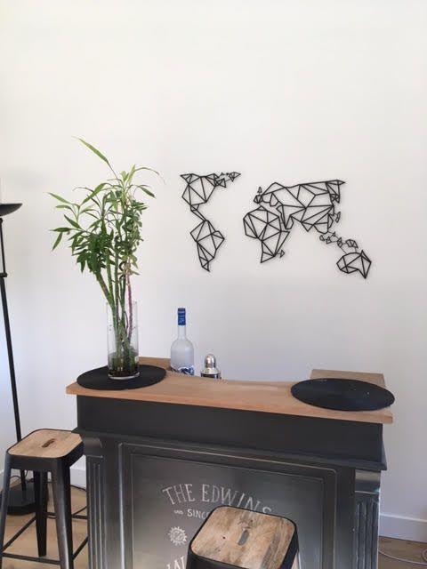 d coration murale m tal carte du monde. Black Bedroom Furniture Sets. Home Design Ideas