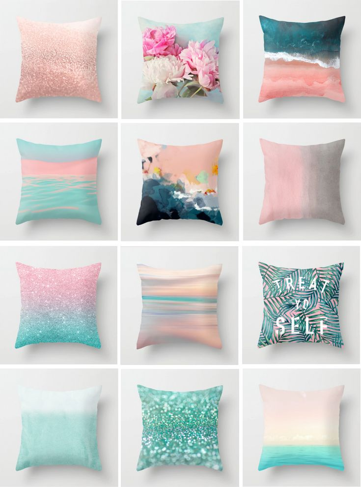 Pillow Pink And Pale Blue Home Decor Throw Decoration Green