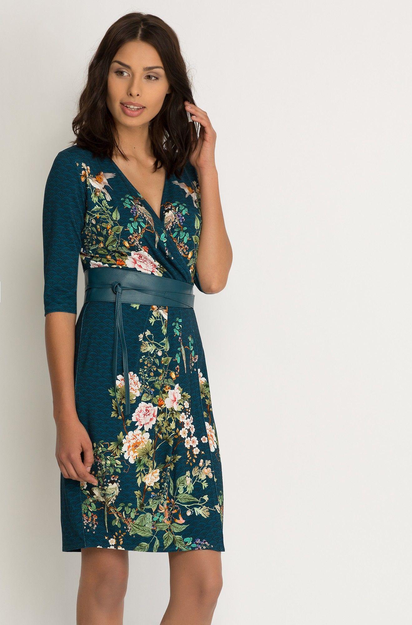 ołówkowa sukienka kopertowa w kwiaty | kleider damen