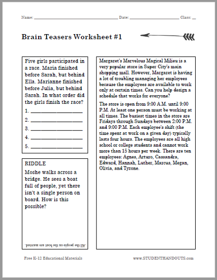 Brain Teasers for Kids Puzzle Worksheet #1
