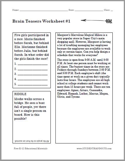 Brain Teasers For Kids Puzzle Worksheet 1 K 12
