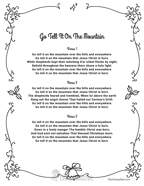 free printable lyrics for go tell it on the mountain download them at https
