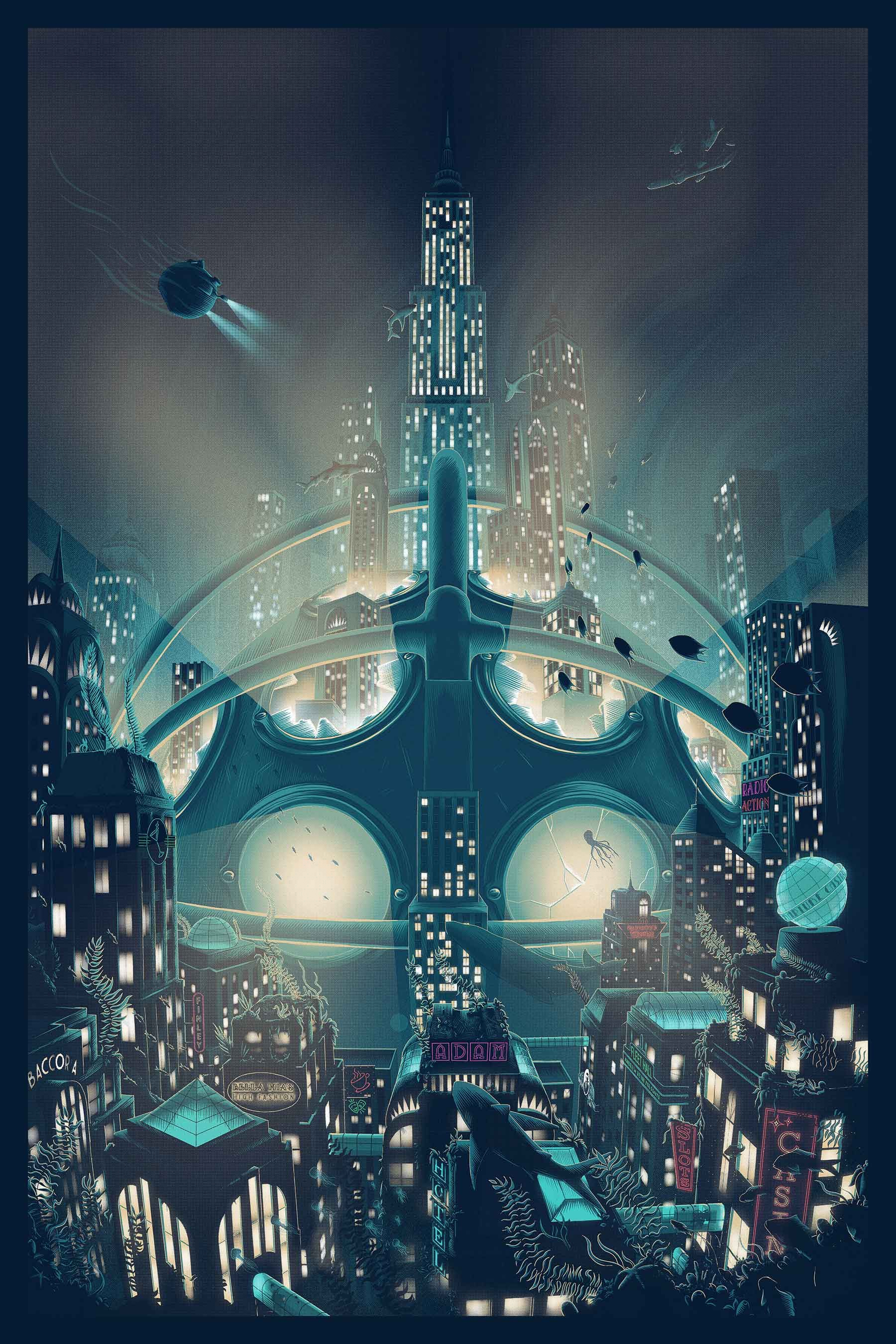 Large Scale Poster For The 2007 Game Bioshock By Irrational Games