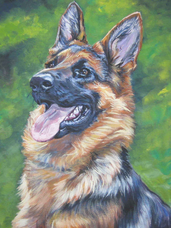 Gsd German Shepherd Art Print Canvas Print Of La Shepard Painting 12x16 Germanshepherd Hond Tekeningen Dieren Tekenen Dieren Schilderen