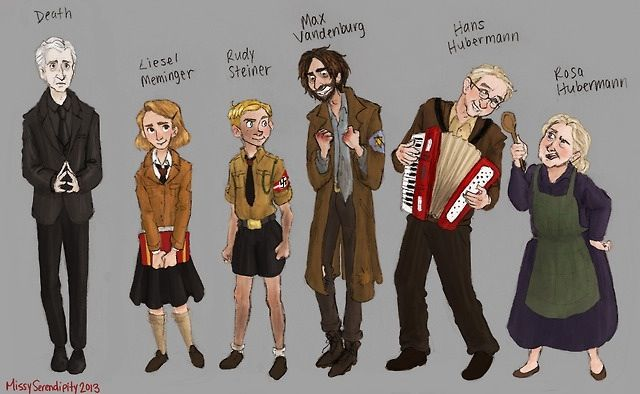 book thief fan art death mama papa rudy max liesel  the book theif characters the book thief character sheet by missyserendipity on