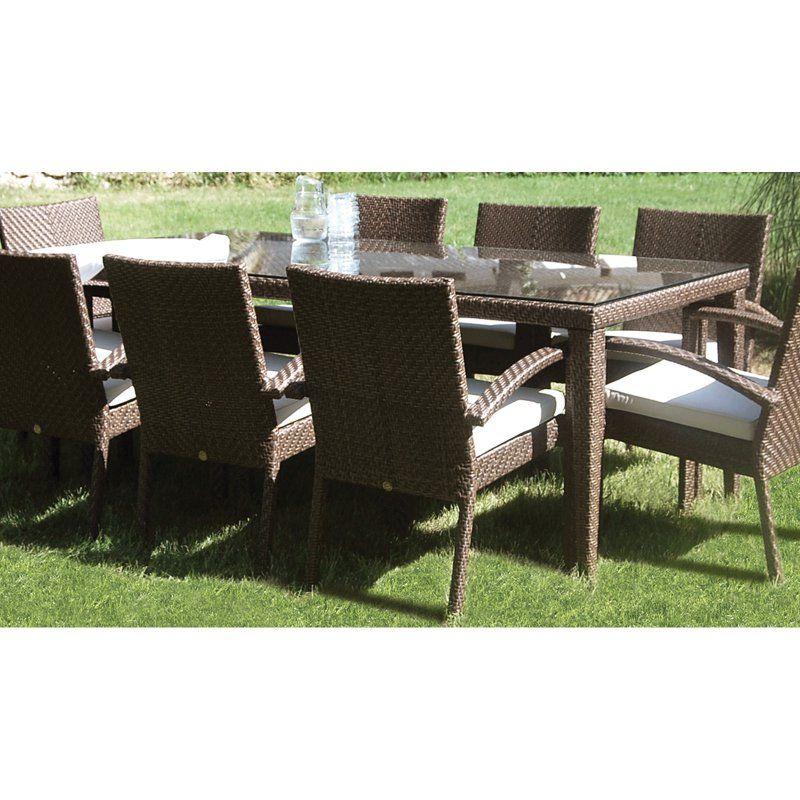 Outdoor Hospitality Rattan Soho Large 78 In. Rectangular Woven Patio Dining  Table   Rehau Fiber
