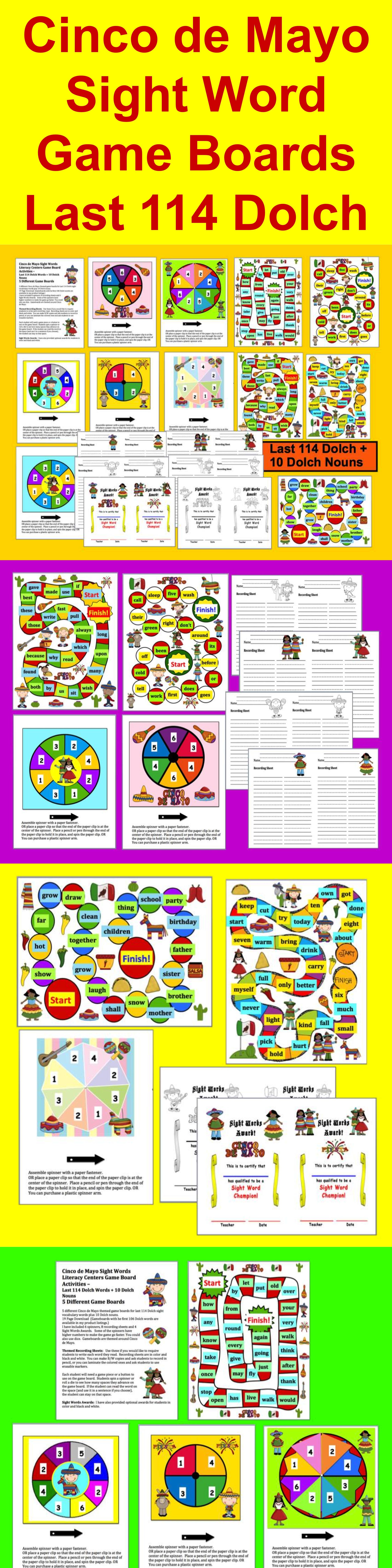 Cinco De Mayo Activities Sight Word Game Boards Last 114