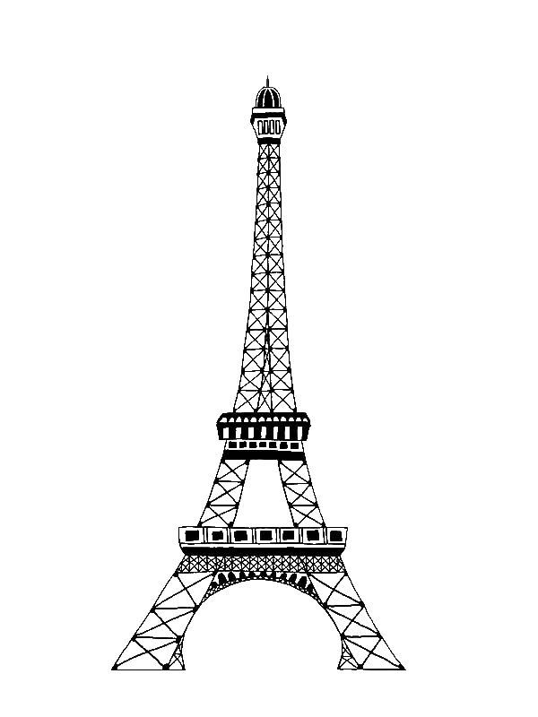 the famous of eiffel tower coloring page by years old