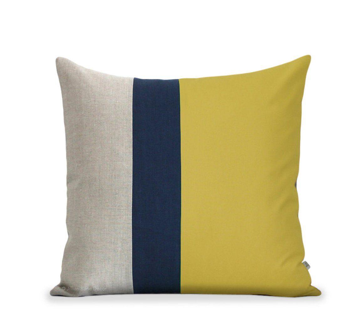 Color Block Pillow Cover Mustard Linen
