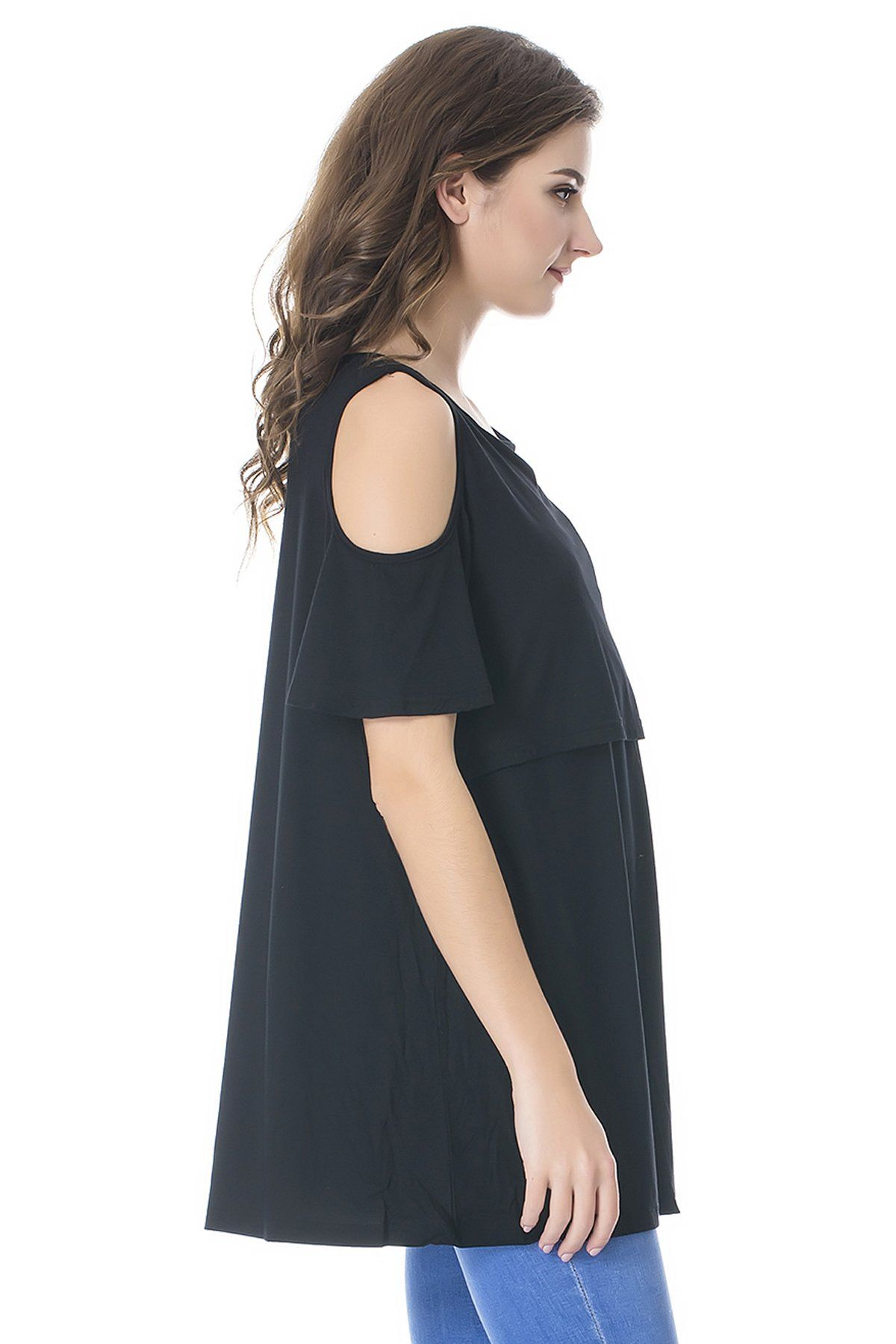 8b542e04b7d nursing tops - Bearsland Womens Maternity Cold Shoulder Nursing Tops Modal  Short Sleeve Breastfeeding Clothes -- Click image for more details.