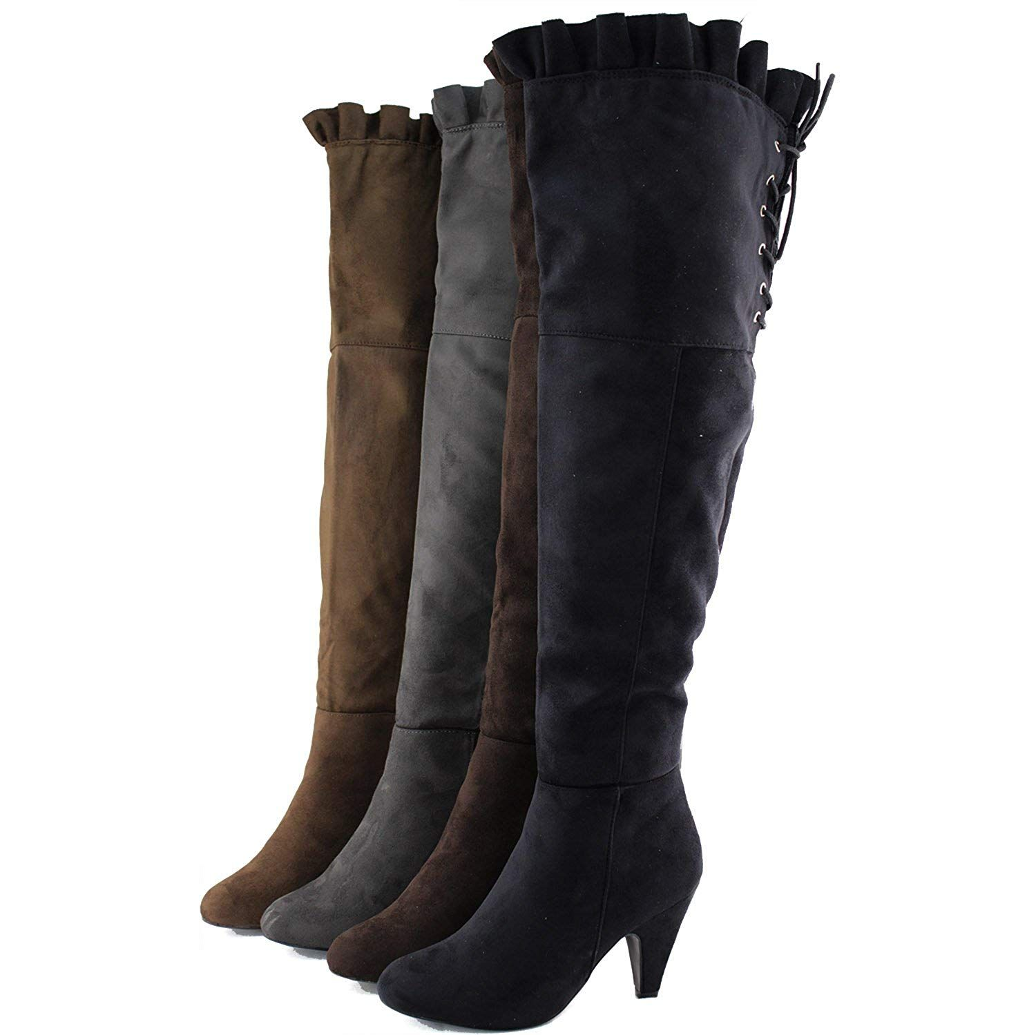c6ec784cc7cf Women's Over The Knee High Lace Up Back Faux Suede Chunky High Heel Slouch Thigh  High Boots Fashion Shoes *** Want additional info? Click on the image.