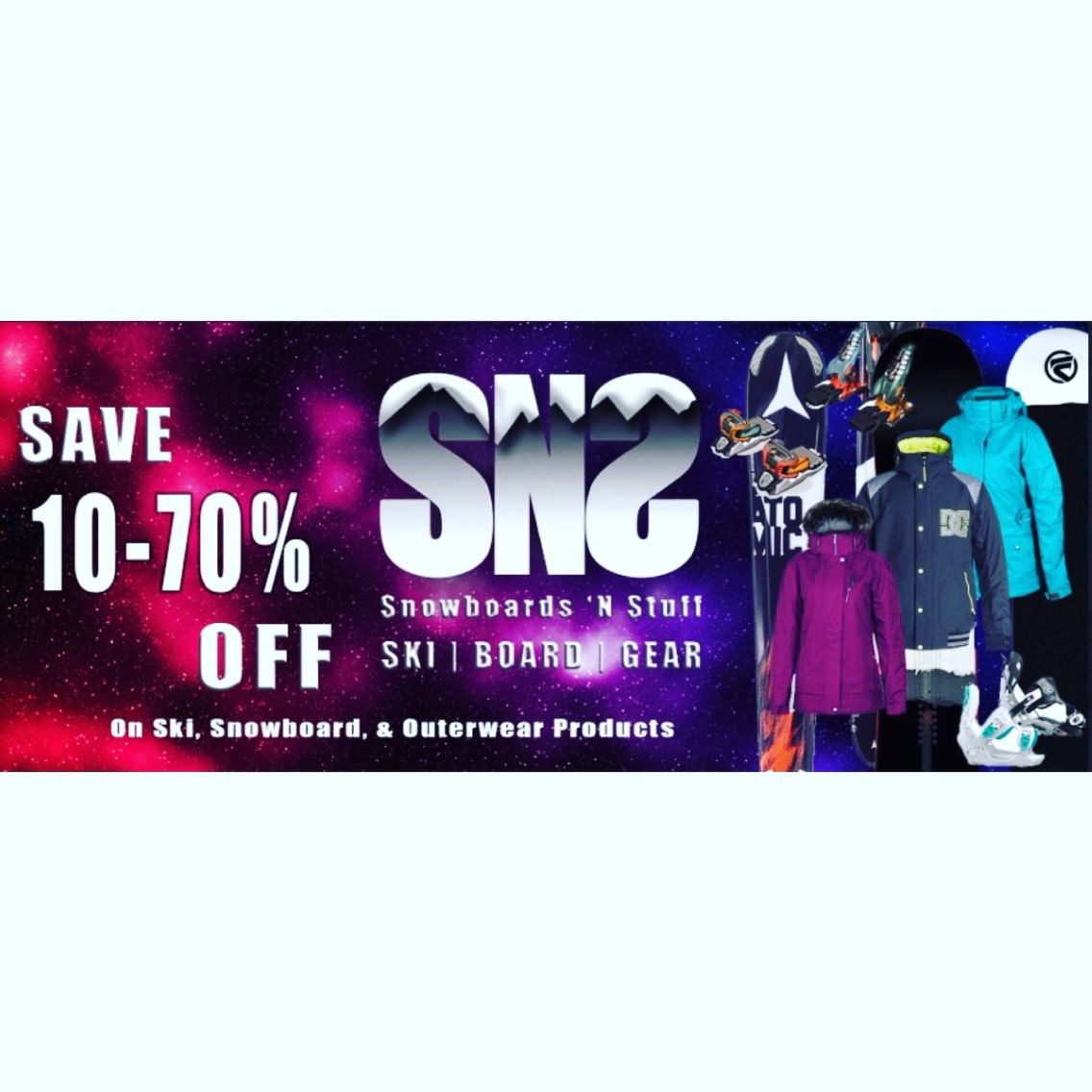Check out our website at SNSboards.com to see our latest snow gear! Awesome deals for quality stuff :)