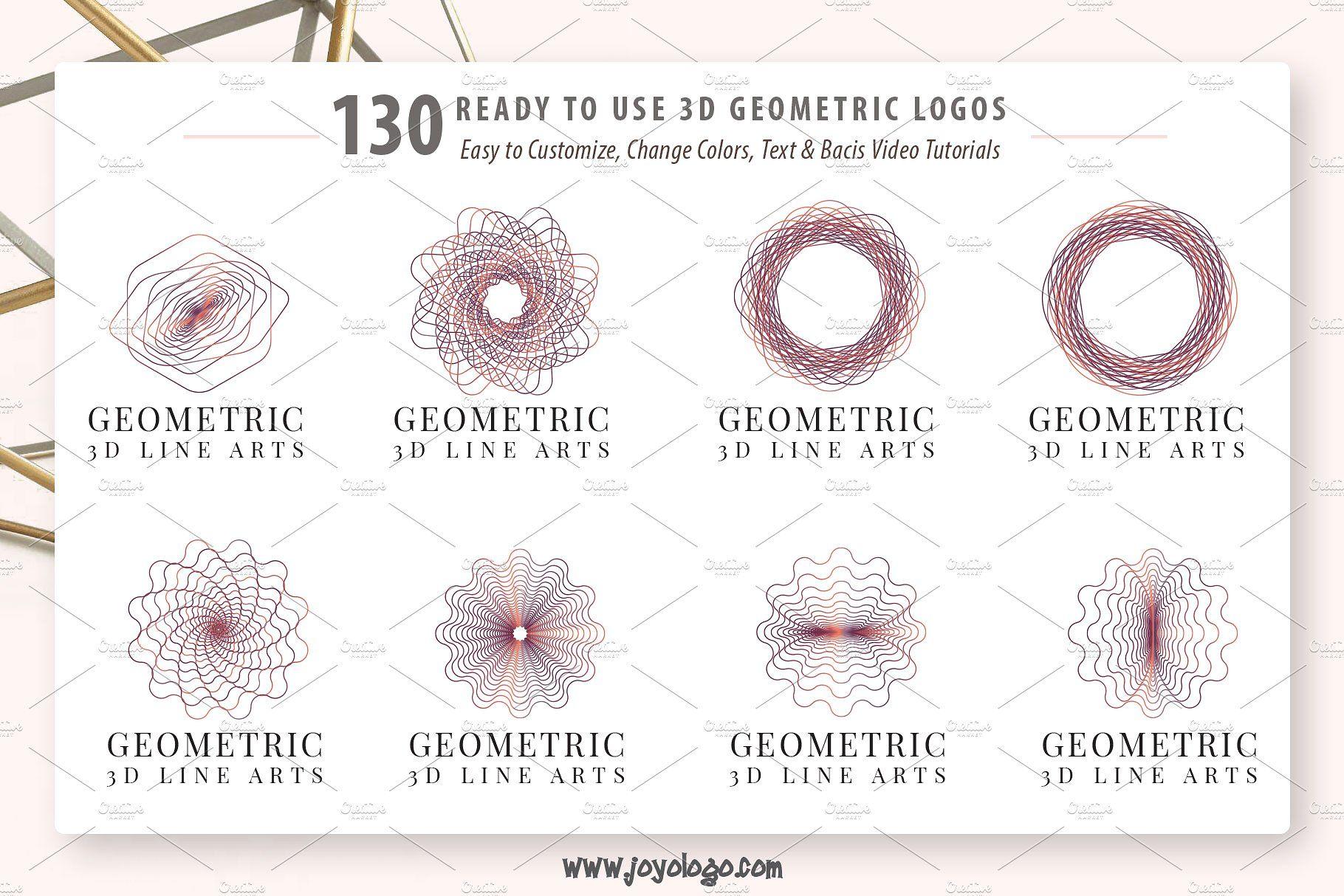 Geometric Logo Generator 3D Line Art #files#open#graphic