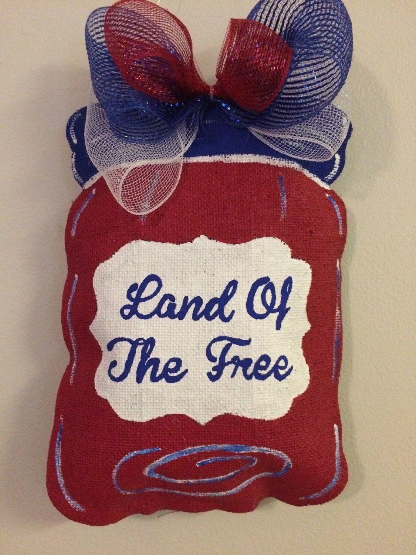 Patriotic Mason Jar Land Of The Free Summer Memorial Day 4th Of July Burlap Mason Jar By