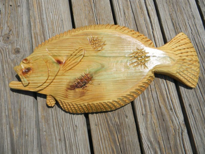 Sculpture freeshipping chainsaw carving gulf flounder