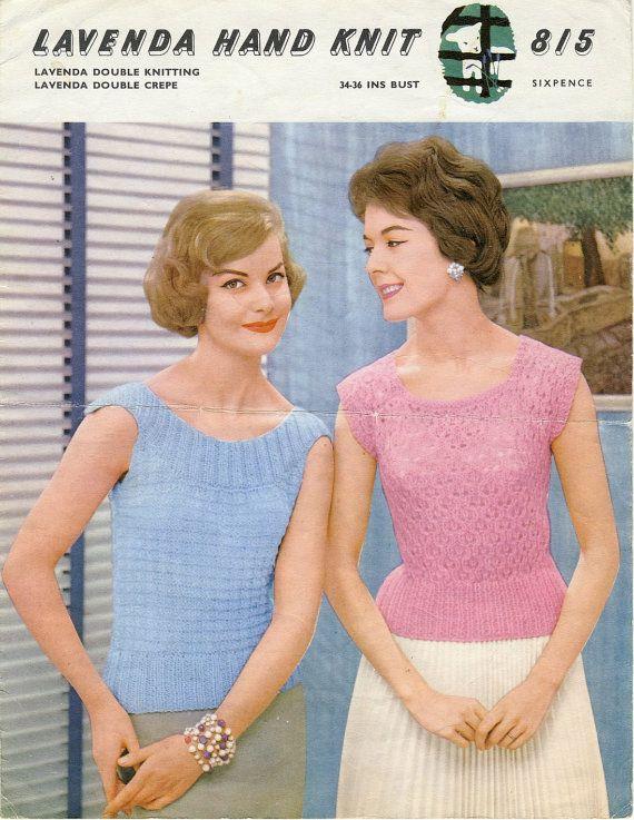Lavenda 815 Ladies Jumpers In Dk Yarn 1950s Vintage Knitting