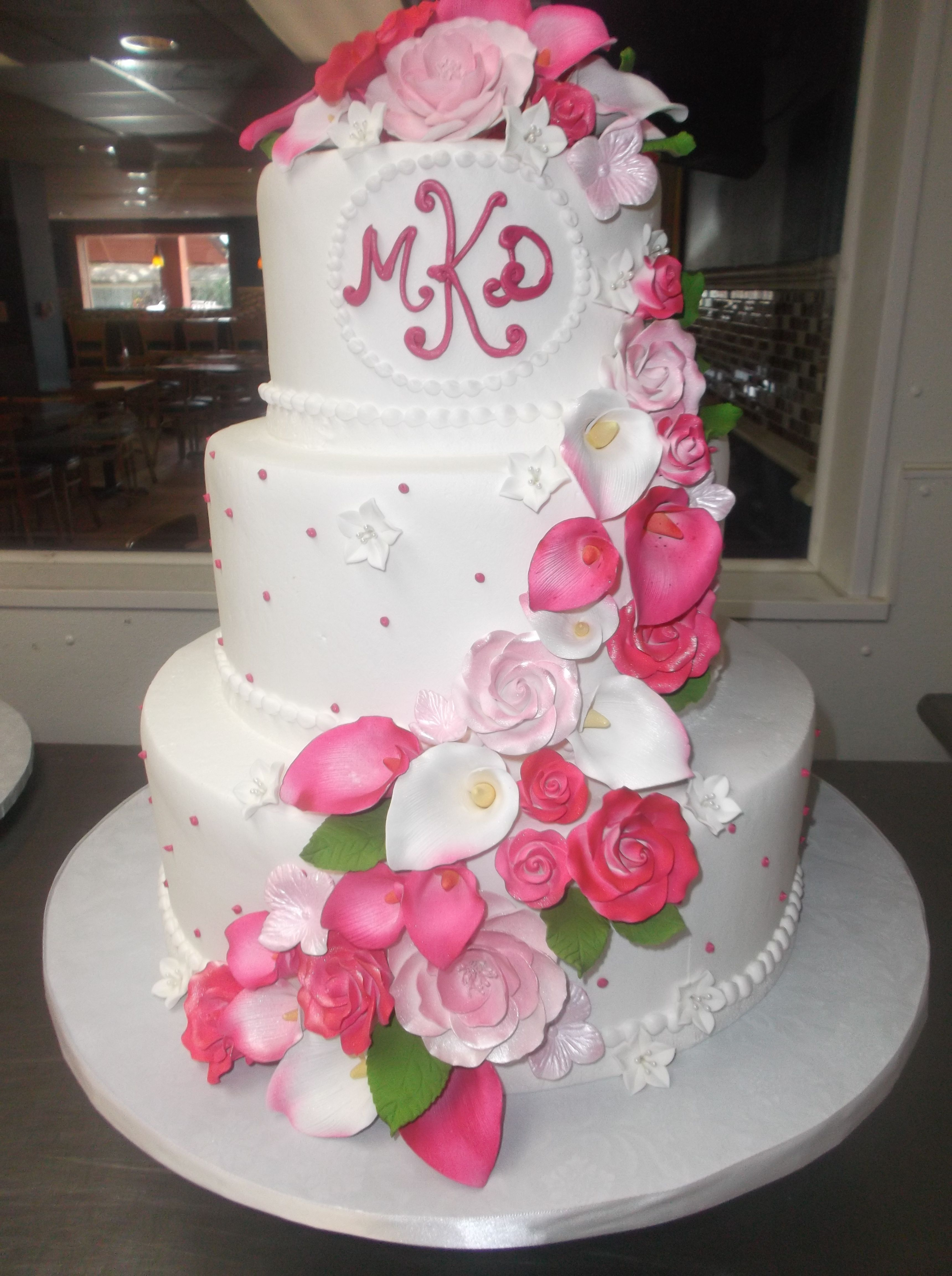 Watermelon pink flower cascade | Our Alessi Bakery Cakes | Pinterest ...