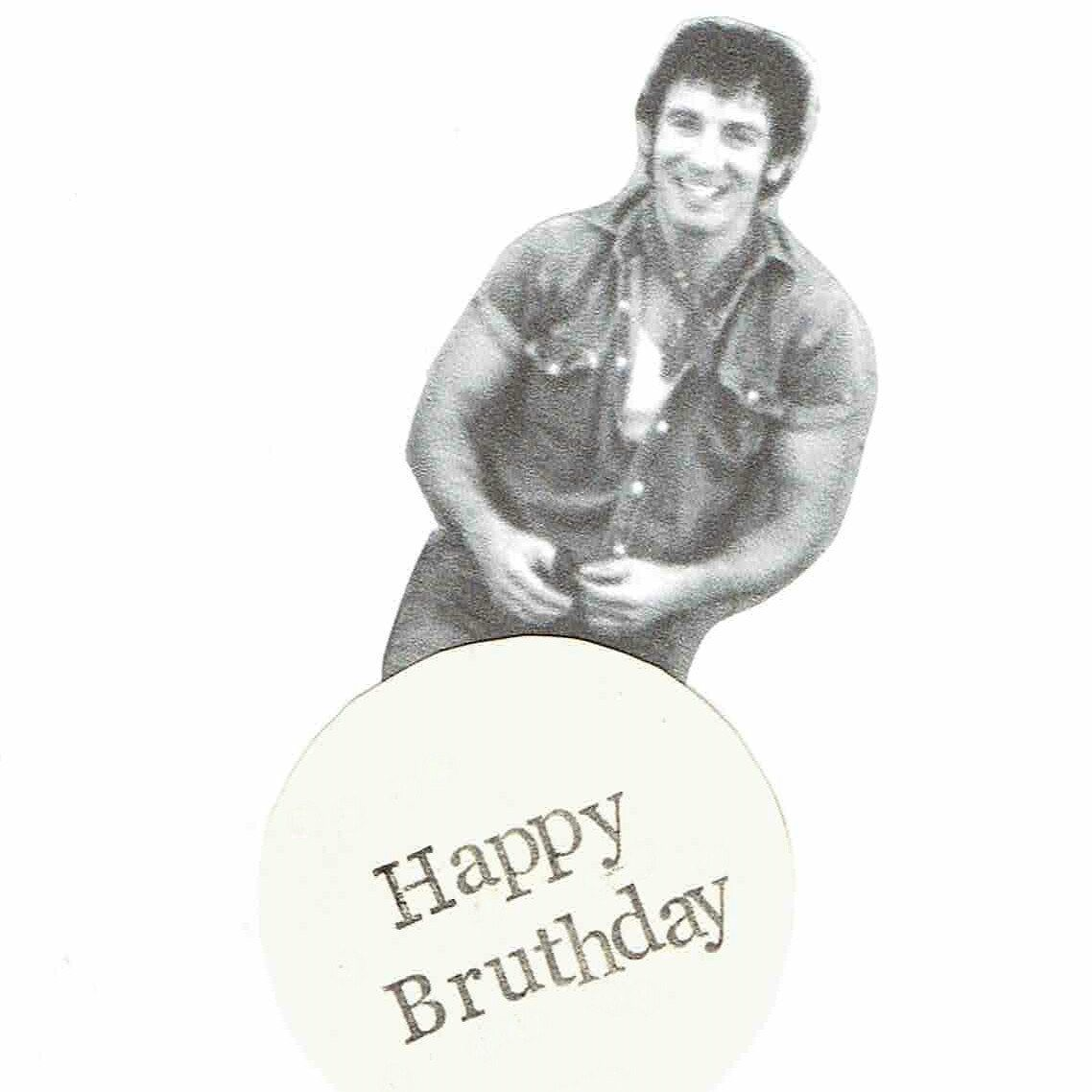 Happy bruthday bruce springsteen birthday card funny pun humor lettering and collaged paper image on ivory card stock and comes with matching envelope shipped in a protective plastic sleeve more birthday kristyandbryce Choice Image