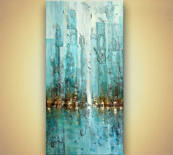 Original modern blue abstract city painting heavy texture for Textured acrylic abstract paintings