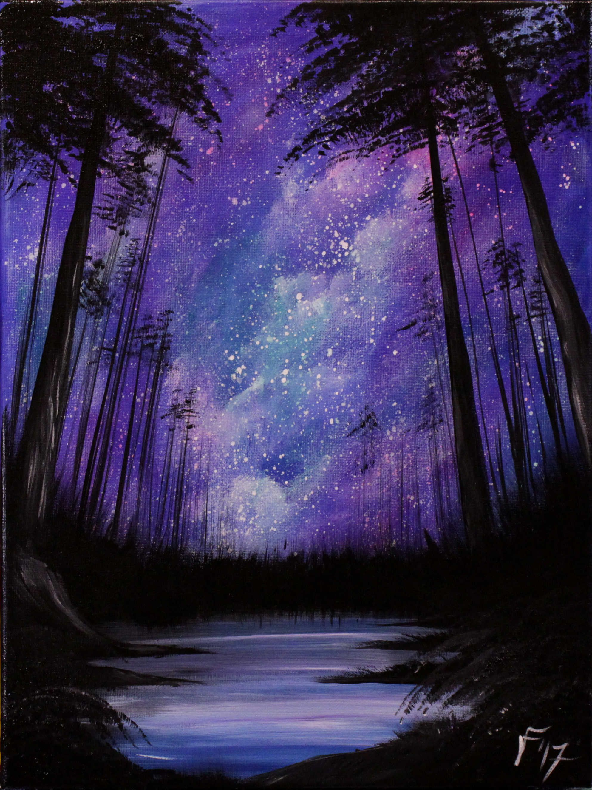 Starry Night In The Forest Nature Paintings Acrylic Sky Art Silhouette Painting