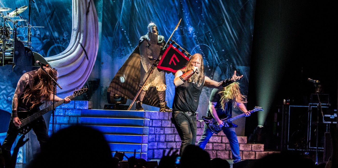 Amon Amarth On Stage At The Wiltern In Los Angeles On 21st May