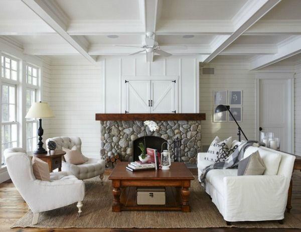 Coastal Slipcover Lake House Living Room
