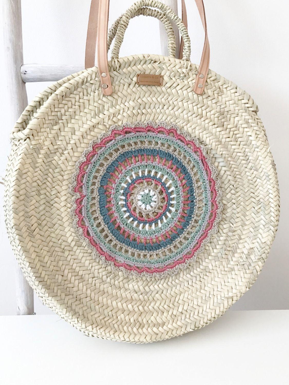 Capazo mandala asas largas / Mandala basket long handles | Crochet ...
