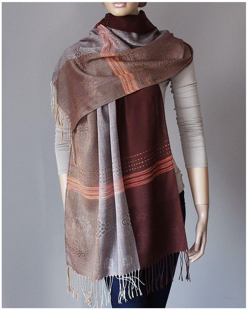 Pashmina Jedwabny Stonowany Szal Welna Silk 190x62 7242613045 Oficjalne Archiwum Allegro Fashion Pashmina Silk