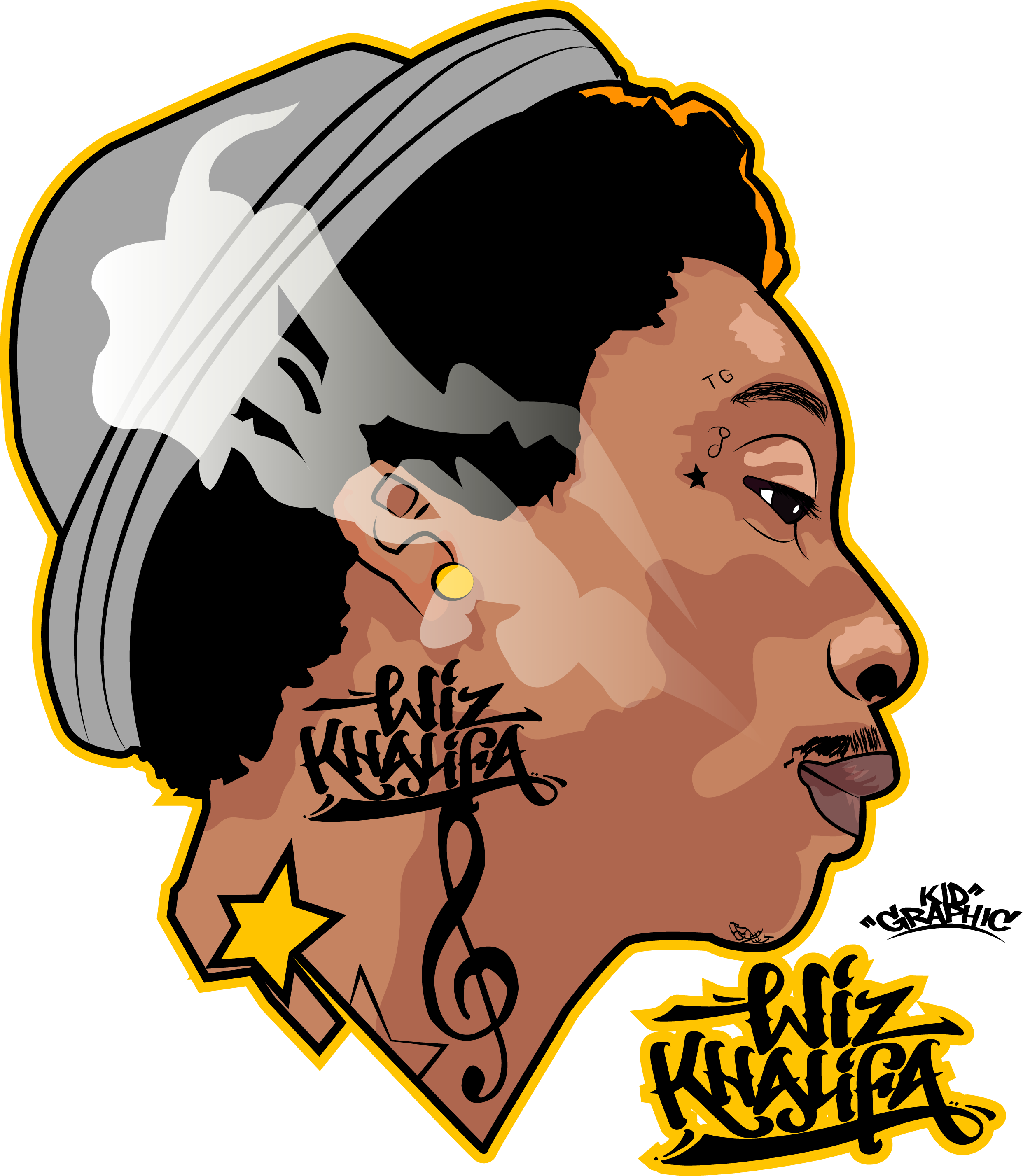 e4c59b889344 Wiz Khalifa Illustration | Illustrations in 2019 | Hip hop, Dope art ...