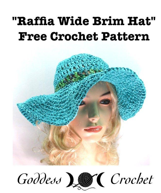 Raffia Wide Brim Hat - Free Crochet Pattern | หมวกปีกกว้าง | Pinterest