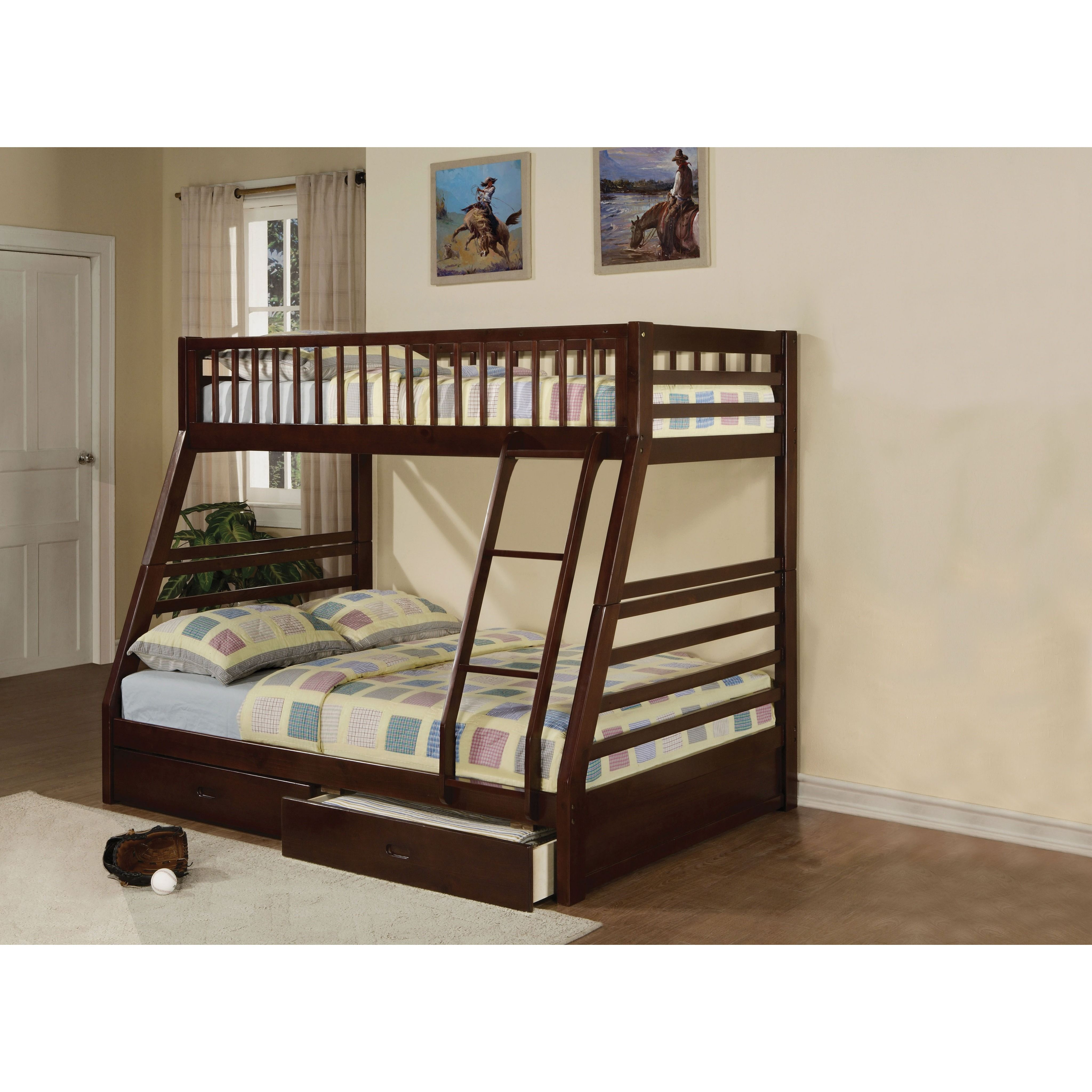 Twin over full loft bed with stairs  Jason Espresso Pine Wood Twin over Full Bunk Bed with Drawers  Full