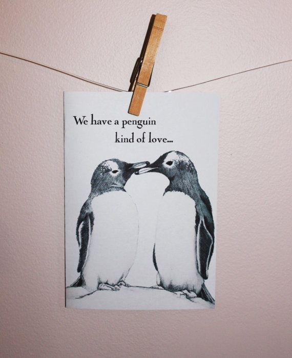 Canvas Pictures Cute Penguin Lovers Snow Animals Love Wall Art Poster