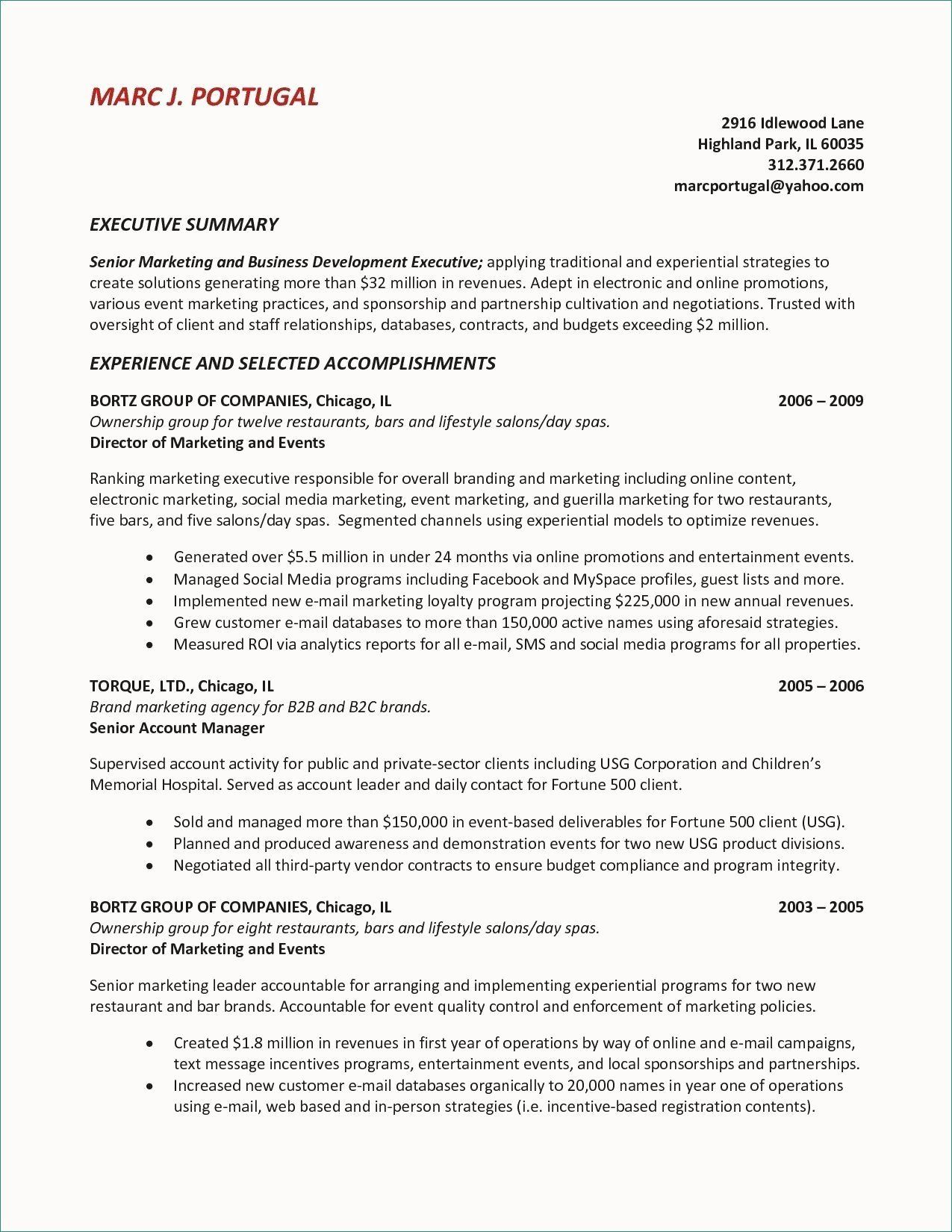 example of a marketing resume summary statement