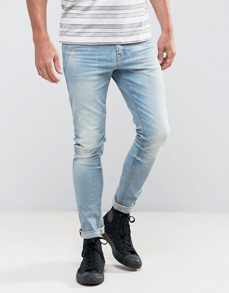ASOS Super Skinny Jeans In 12.5oz Light Wash Blue - Blue 3048cc8a5