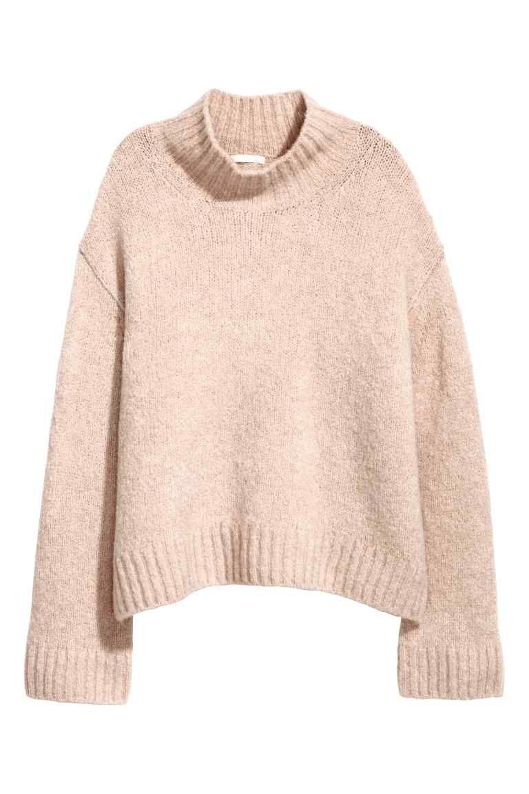 0b4744a6c Camisola malha mistura de lã - Rosa pó - SENHORA