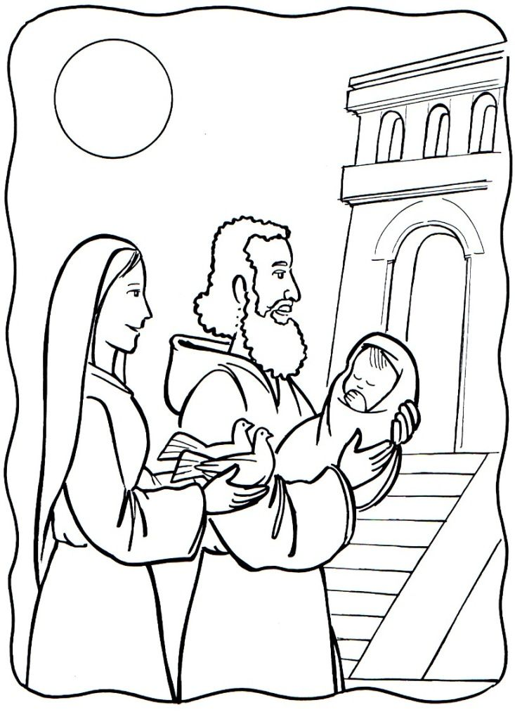 The Presentation Of Our Lord In The Temple Catholic Coloring Page Sunday School Coloring Sheets Bible Crafts Catholic Coloring