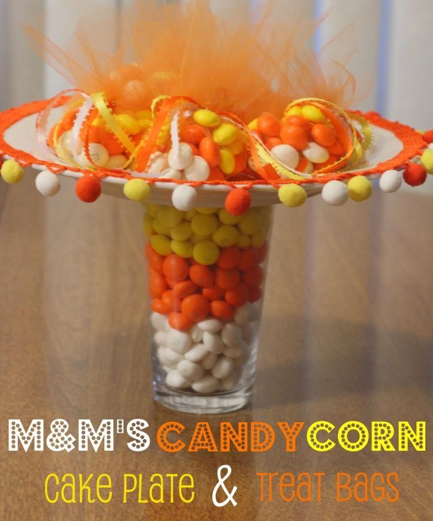 DIY Halloween Crafts : DIY M&Ms Candy Corn Cake Plate ...