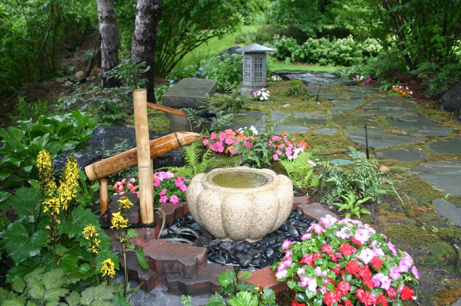 Inspiring And Attractive Design Ideas For Your Gardens: Inspiring Small  Japanese Garden Design From Asian Style Landscaping Influence With Fountain  And ...