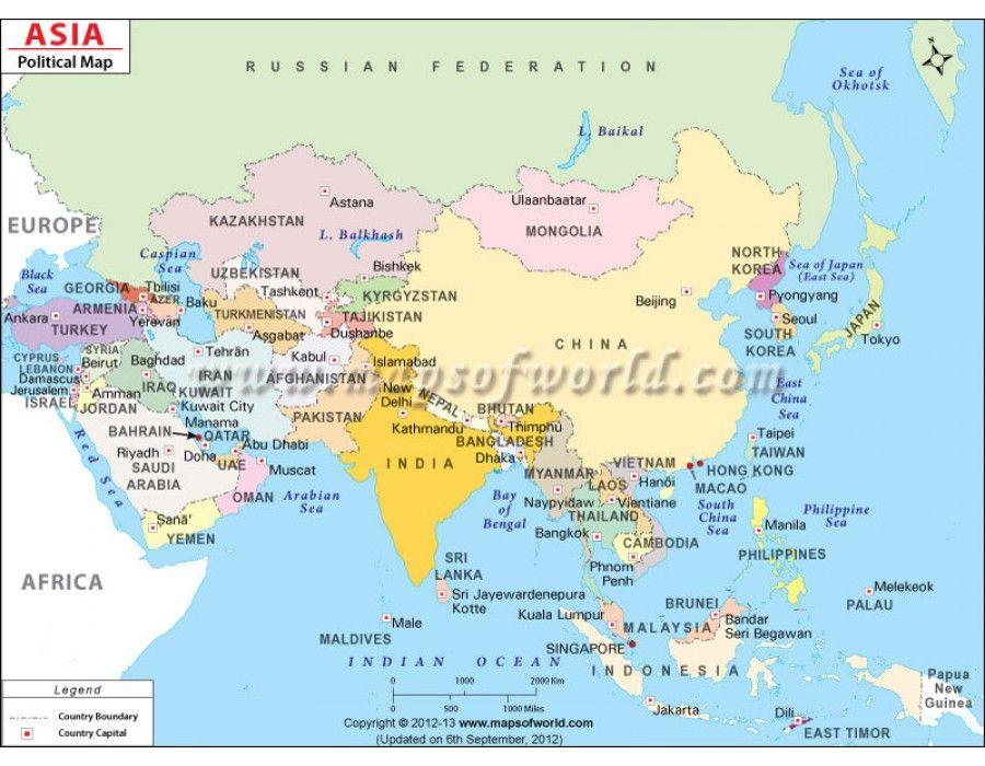 Asia Political Map #store mapsofworld Pinterest Asia