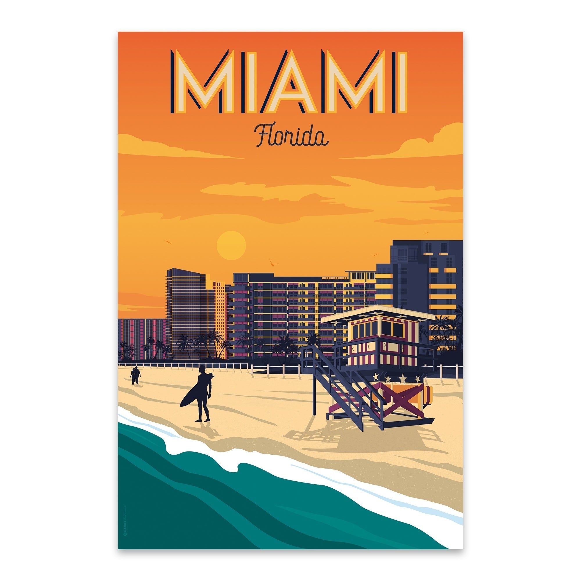 Retro Nostalgic Home Art Print Wall Decor poster A3 miami beach USA